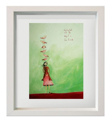 "print  on watercolour paper framed under glass ""standing tall with the help of a few friends"""