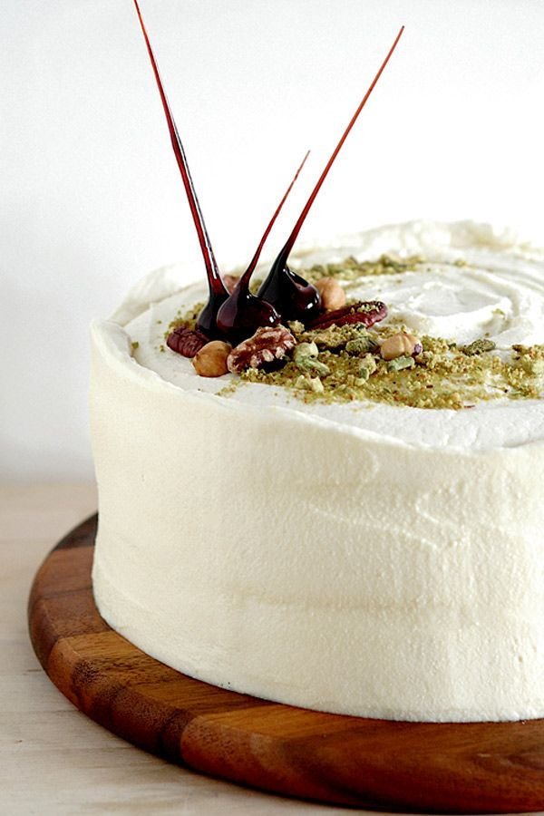 Carrot Cake with Maple Cream Cheese Frosting and pistachios