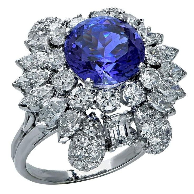 Tanzanite Diamond Platinum Ring | From a unique collection of vintage engagement rings at https://www.1stdibs.com/jewelry/rings/engagement-rings/