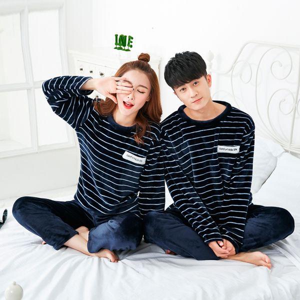 Осень и зима пара пижамы полосатые фланелевые женские зимние толстые коралловые бархат мужской корейской версии домашняя зимняя одежда костюм