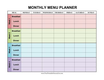 Four weeks are decorated in different colors in this monthly menu planner that covers breakfast, lunch and dinner. Free to download and print