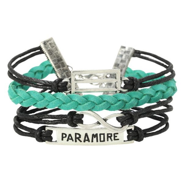 Paramore Logo Bracelet 4 Pack | Hot Topic ($11) ❤ liked on Polyvore featuring jewelry, bracelets, charm bangle, black bangles, green jewelry, bracelet bangle and charm bracelet jewelry