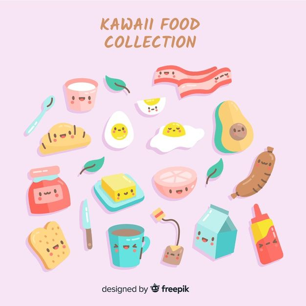 Telechargez Collection De Nourriture Kawaii Gratuitement Kawaii Food Kawaii Cute Doodles