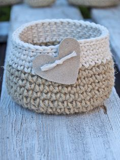 Crochet basket heart gift Basket Cotton linnen Natural Wedding Rustic Crochet Basket leather hert Alternative Gift Bags Wedding