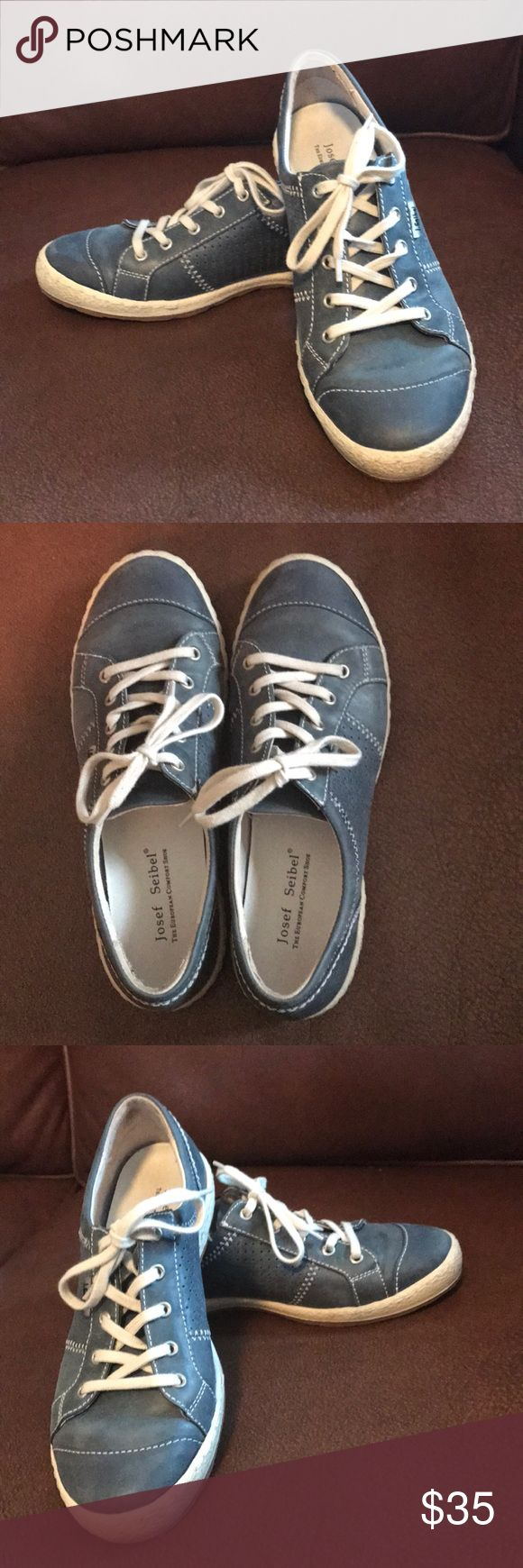 Josef Seibel walking shoes 38 Used, but plenty of life in them! Size 38, muted denim blue color. Josef Seibel Shoes Sneakers