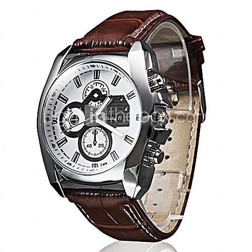 Hombre Reloj de Pulsera Cuarzo PU Banda Negro / Marrón Marca- - USD $6.99