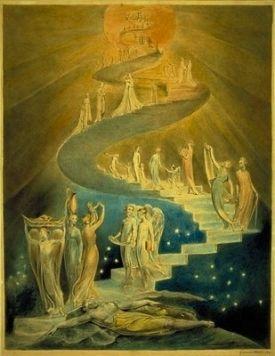"""William Blake, """"La escalera de Jacob"""", 1805. La obra está basada en el capítulo 28 (versículo 10-19) del libro Génesis del Antiguo Testamento: """"Y tuvo un sueño; soñó con una escalera apoyada en tierra, y cuya cima tocaba los cielos, y he aquí que los ángeles de Dios subían y bajaban por ella"""""""