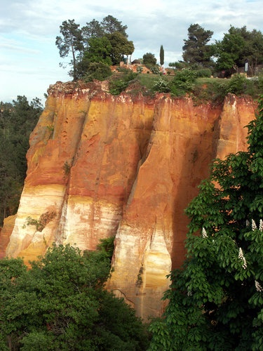 Red and ochre sandstone cliff in Roussillon... it really looks even more beautiful in person.  The colors of the cliffs are amazing.