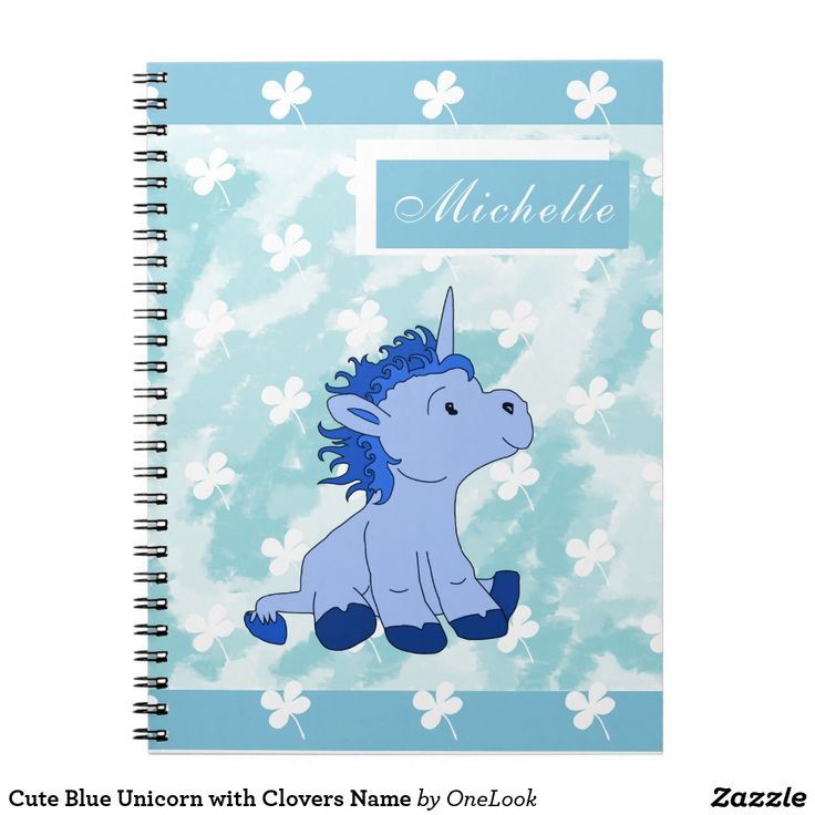 Cute Blue Unicorn with Clovers Name