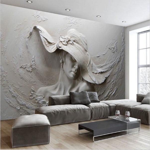 3d Modern Abstract Gray Wallpaper Beautiful Woman S Face Plaster Wall Art Plaster Art Embossed Wallpaper