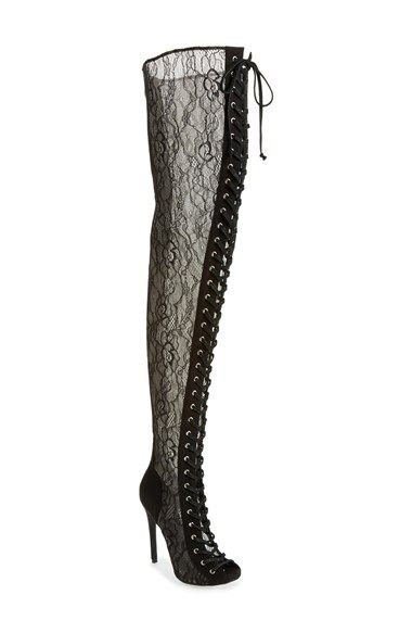 Free shipping and returns on ZiGi girl 'Pria' Lace Inset Thigh-High Boot with Corset Laces (Women) at Nordstrom.com. Push boundaries in a see through lace-paneled boot that stretches to your thigh and fits perfectly thanks to adjustable laces that crisscross the open front all the way up.