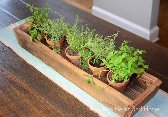 Rustic Wood Trough Box looks perfect on a farm table with herbs, flowers or holding cutlery. Looks beautiful on a mantle or coffee table