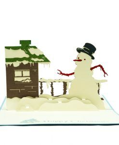 "The Christmas Scene pop up card has a blue cover with a beautiful illustration of a Christmas reindeer. The image also comes with a ""Happy Holiday"" text to bring the Holiday spirit to recipients. Upon opening the card and you will find a three-dimensional paper sculpture of a Giant snowman standing in the house yard on Christmas. We always leave the card blank so that you can personalize your own words."