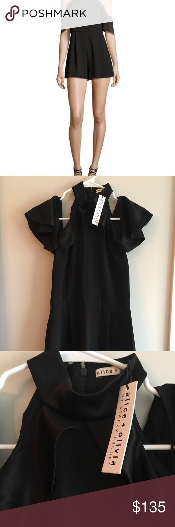 Alice & Olivia Roseline Cold Shoulder Romper S 6 NWT Alice & Olivia Roseline Cold Shoulder Romper Size 6 Color-Black Draped ruffle trim forms flutter half sleeves. High neckline. Cut-in cold shoulders. Nips at high waist. Single-pleat shorts. Relaxed leg openings. Exposed back zip. Polyester; combo, triacetate/polyester. Lining, polyester/spandex. Never worn Perfect for date night, weddings, holiday parties Retails for $295 Comes from a Pet Free and Smoke Free Home Alice + Olivia Dresses