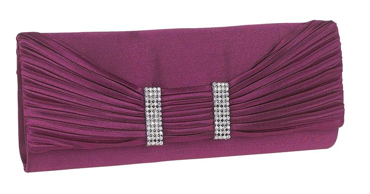 Purple Diamante Evening Clutch Bag