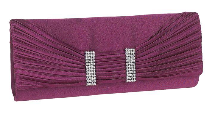 Purple Diamante Evening Clutch Bag
