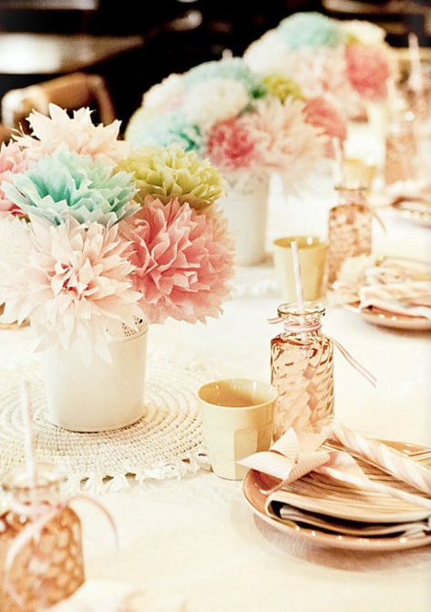 Pastel colored paper flower centerpieces but in much for Pastel colored flower arrangements