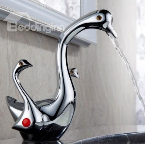 Elegant Swan Shape Pure Copper Bathroom Faucet on sale, Buy Retail Price Bathroom Sink Faucets at Beddinginn.com