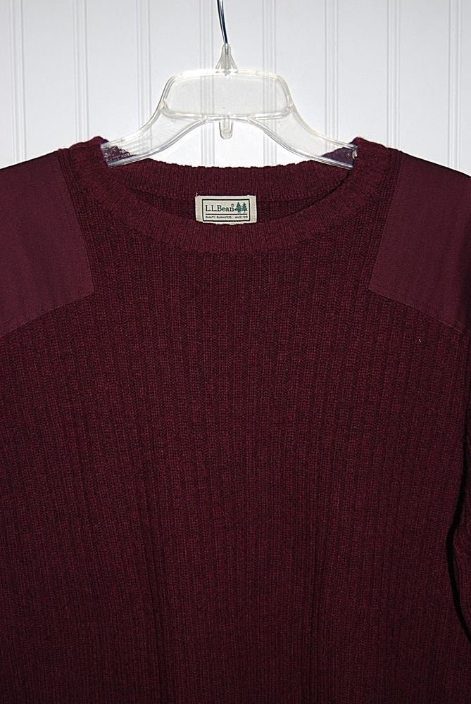 LL Bean Mens Military Style Sweater Wool Ribbed Maroon XL Reinforced Elbows…
