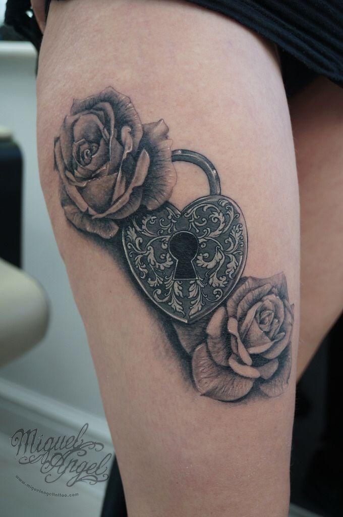 Love heart padlock and roses tattoo