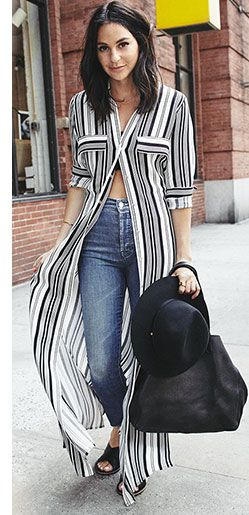 I never thought to pair a maxi dress with jeans, but I love this look!