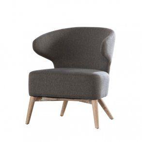 Klapp - hvilestol i stål grå stof, egeben