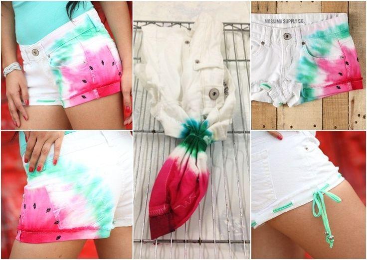 weiße Jeans Shorts färben und Wassermelone Motiv kreieren