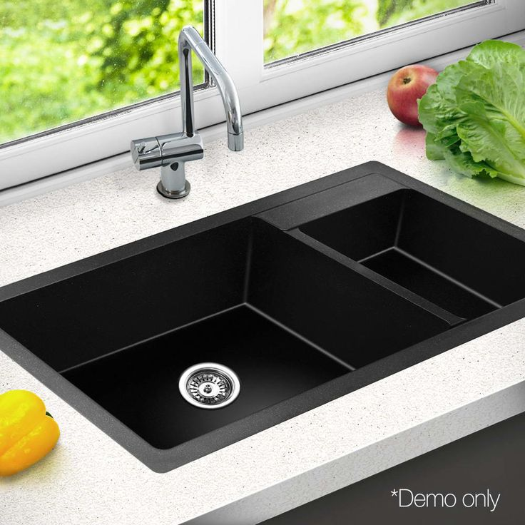 Black Stone Kitchen Double Sink | Temple & Webster