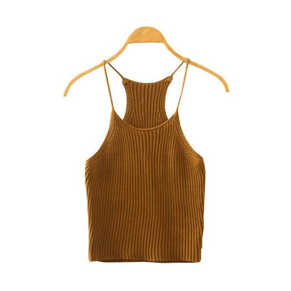 Yoins Khaki Fashion Sleeveless Knit Top (€12) ❤ liked on Polyvore featuring tops, brown crop top, knit crop top, khaki crop top, cut-out crop tops and sleeveless crop top