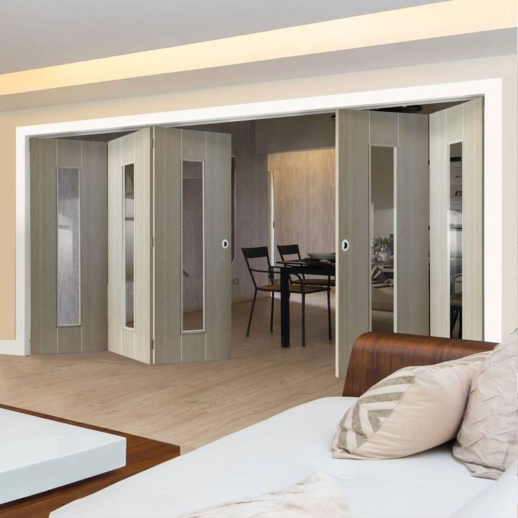 Thrufold Nuance Viridis Cream Flush 3+2 Folding Door - Clear Safety Glass, Pre-finished - Lifestyle Image