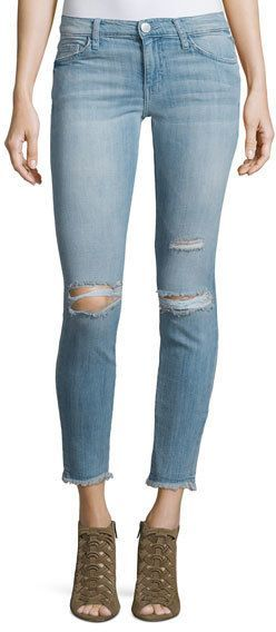 Current/Elliott The Stiletto Distressed Skinny Ankle Jeans, Mid-Day Destroy