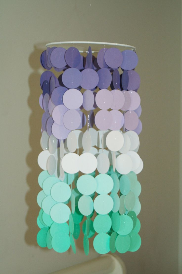 Lavender and Teal Ombre Paper Crib Mobile by FourGlitteredGeese on Etsy