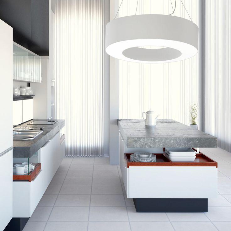 suspension blanche halo par metropolight cylindre de tissu pour une lumi re tamis e cuisine. Black Bedroom Furniture Sets. Home Design Ideas