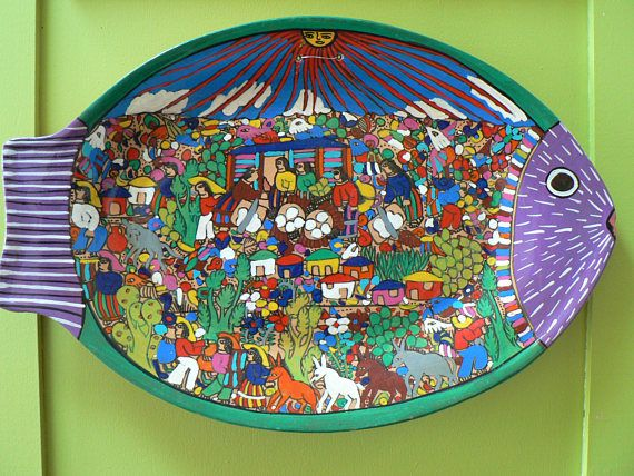 Mexican folk art Fish story plate Tlaquepaque primative hand
