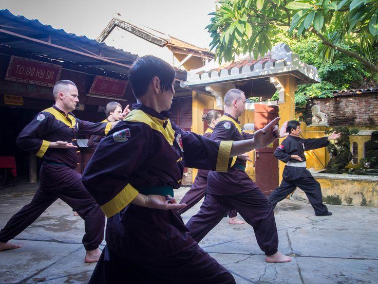 Cross training in #HoiAn at Ky Son #MartialArts School, with Grand Master Tran Xuan Man. Intense! #VietnamSchoolTours