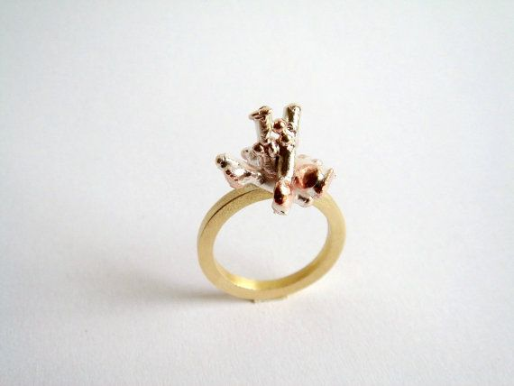 Sponge Coral Ring. Mixed Metal Ring. Sterling Silver Statement Ring.