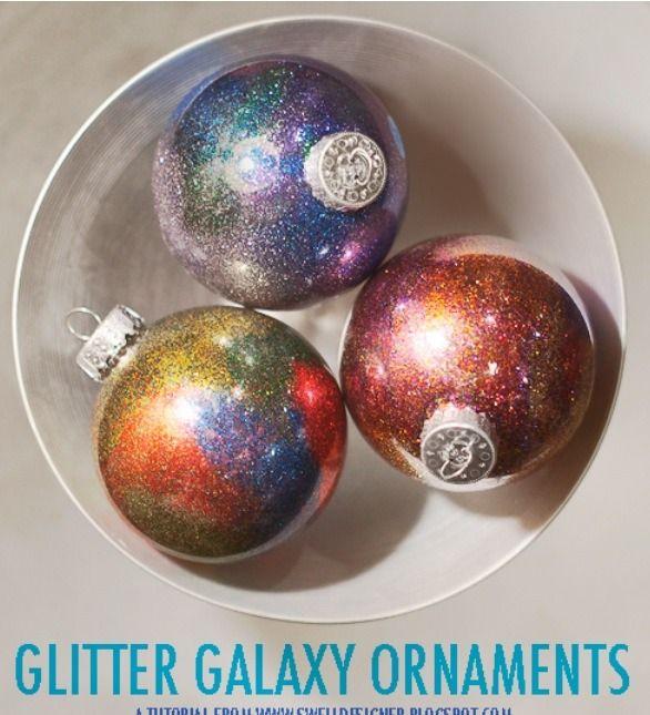 Glitter Galaxy DIY Ornaments