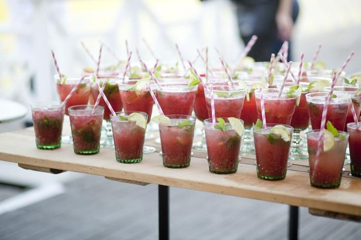 Rose, watermelon & strawberry mojitos - Alexia's Rustic Beach theme 21st - www.eventsandtents.co.za