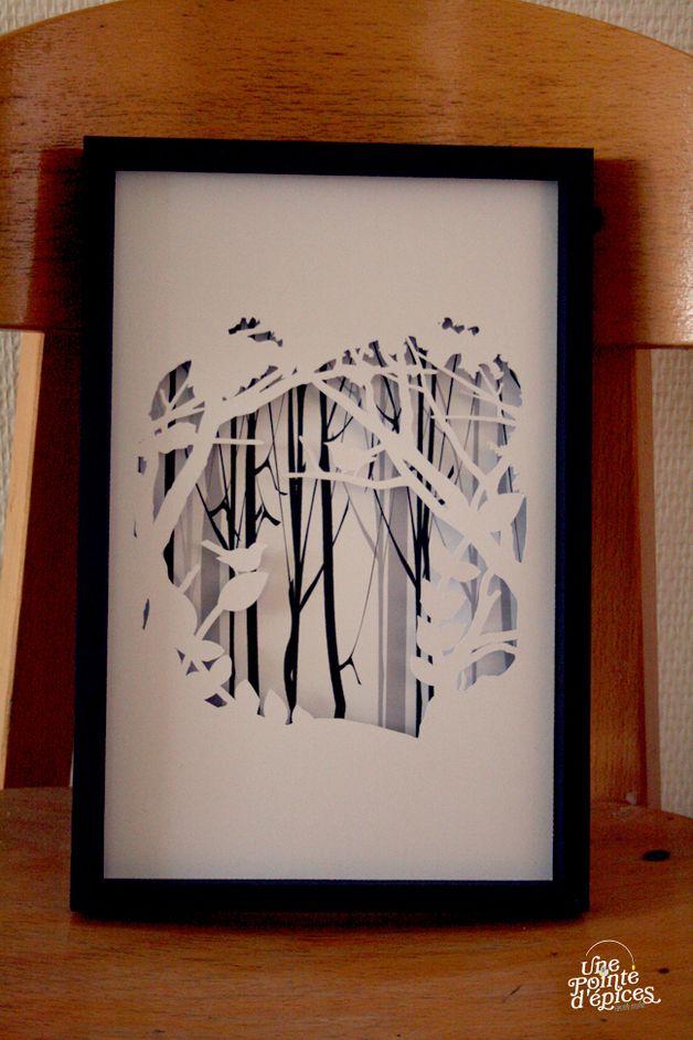 Tableau en papier découpé Oiseaux