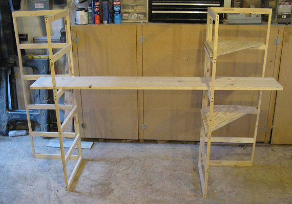 SHIPPING IS FOR THE WEST COAST PARCEL, PLEASE CONTACT ME FOR STATES CLOSER TO PA. (2) hinged sections Left and right as seen in the picture, 50 Tall 18 wide 3 deep per side when folded, 16 rungs inside width. 4- Triangle drop in corner shelves, buyer will buy main shelves local to save on