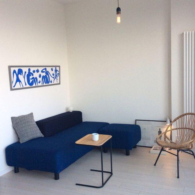 Yoheiさんの、無印ソファ,無印テーブル,バンブーチェア,North6 Antiques,フランフランクッション,エジソンバルブ,地元LOVE,札幌部屋,リビング,のお部屋写真