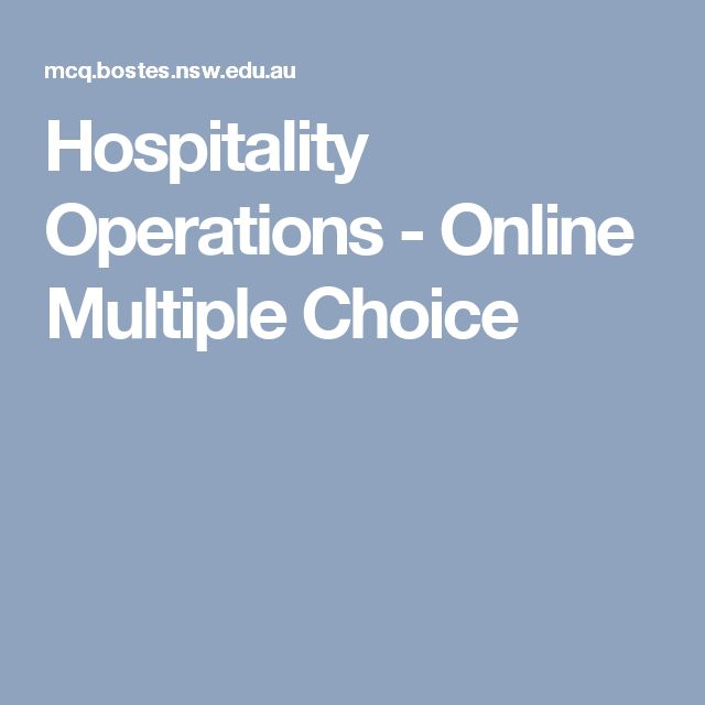 Hospitality Operations - Online Multiple Choice