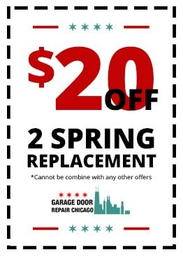 Garage Door Repair Chicago is proud to offer our customers a $20 discount off our expert garage door spring replacement service with this online coupon. Simply mention it over the phone to our dispatcher to receive credit. www.garagedoorrepairchicago.com