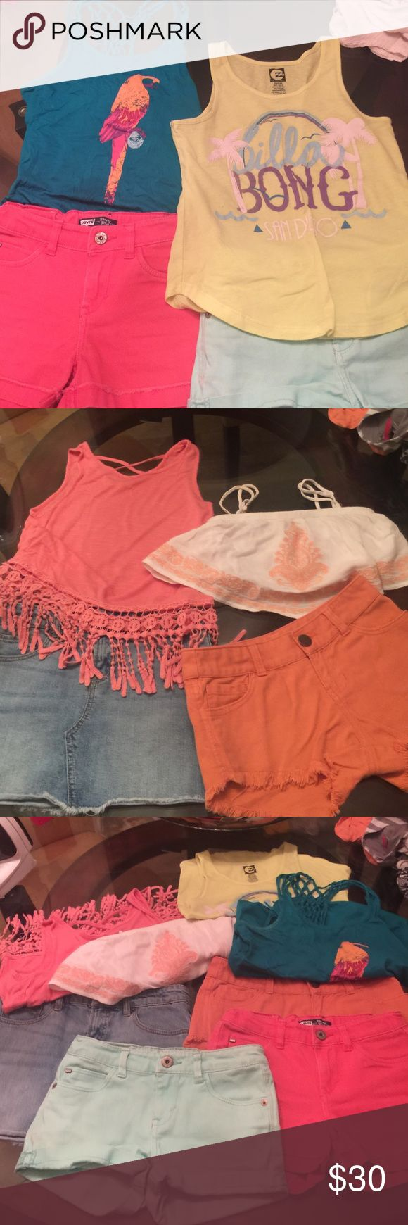 Lot girls clothes size 10-12 Gently used lot girls clothes. Lucky Brand Denim skirt size 10; Levi's aqua shorty short size 10R; Coral Levi's shorty short 10R; O'Neil orange shorty short with frayed ends ; Roxy girl parrot tank size 10; Billabong San Diego tank yellow size 10/12; LA Hearts tube top white and orange size small; Coral Soprano tank with crochet design on bottom of tank girls size 14 runs small. DNKY size 10 hipster sun short Lucky Brand Matching Sets