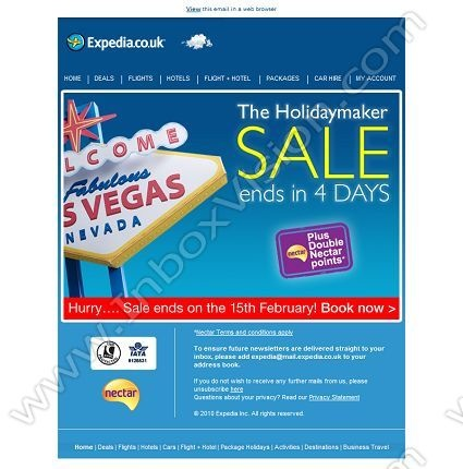 Company:    Expedia.co.uk   Subject:    Hurry our SALE ends soon              INBOXVISION is a global database and email gallery of 1.5 million B2C and B2B promotional emails and newsletter templates, providing email design ideas and email marketing intelligence http://www.inboxvision.com/blog