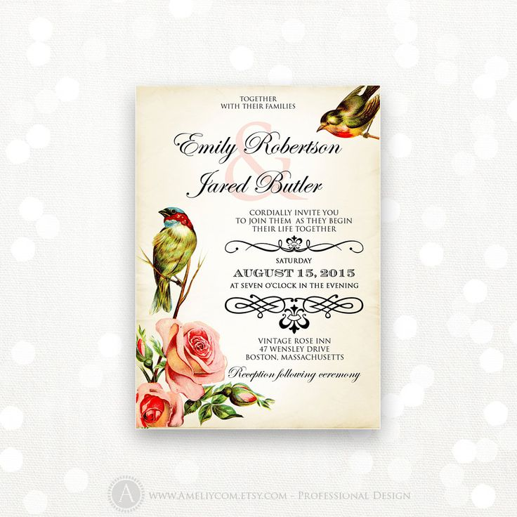 Printable Wedding Invite Vintage Birds & Flowers Weddings Invitation - INSTANT DOWNLOAD - EDITABLE - Retro Floral Art Design