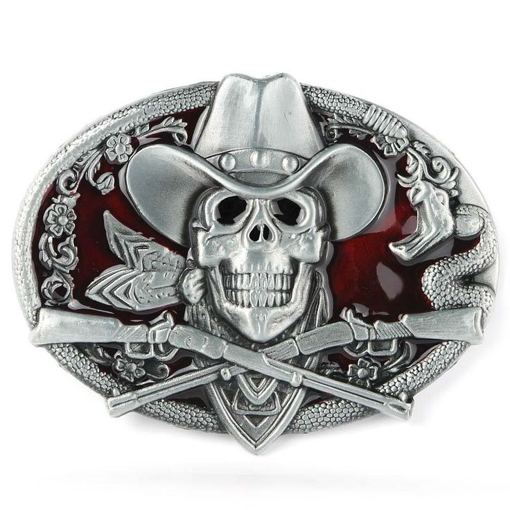 High Quality Western Ghost Skeleton Skull Guns Men's Belt Buckle