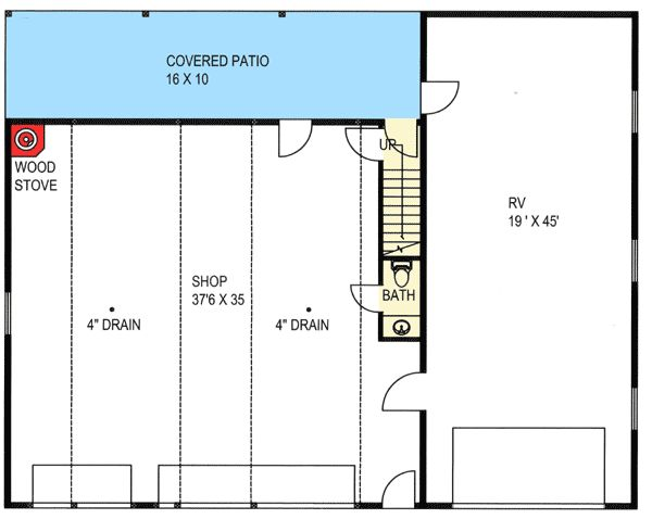 Plan 35489gh rv garage with apartment above 2nd floor for Rv garage door dimensions