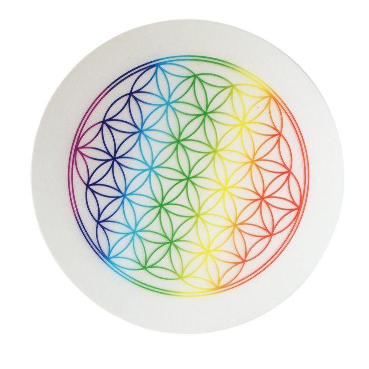 5 x Untersetzer Blume des Lebens, Regenbogenfarbe, Untersetzer für Trinkgläser, Flaschen, Blumentöpfe: Amazon.de: Küche & Haushalt