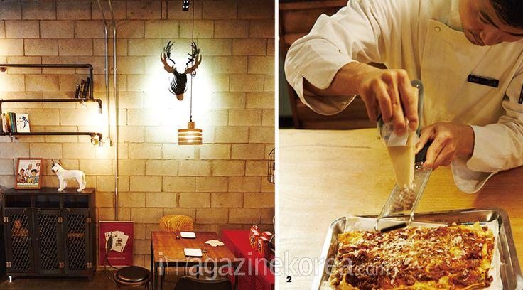상수동 라자냐 | 1 정성 가득한 라자냐와 맥주, 자유로운 분위기가 있는 상수동 라자냐 2 재료를 오븐에 구운 뒤 3년 숙성한 치즈를 갈아내면 풍미 깊은 라자냐가 완성된다